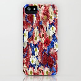 Red White Blue Flora iPhone Case
