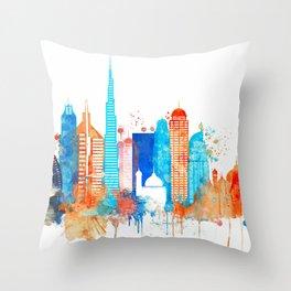 Dubai watercolor Throw Pillow