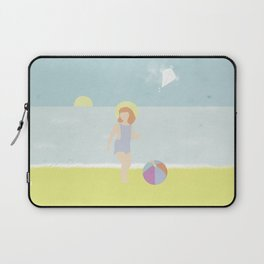 Girl at the beach with kite and ball in the 1950's vintage Laptop Sleeve