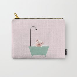 Baby Pink Pig Enjoying Bubble Bath Carry-All Pouch