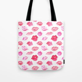 Watercolor pink lips pattern Tote Bag