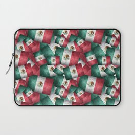 Grunge-Style Mexican Flag Laptop Sleeve