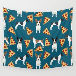 Rat Terrier pizza dog breed pet portrait dog pattern dog breeds gifts for dog lovers Wall Tapestry