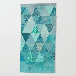 Glamorous Blue Glitter And Foil Triangles Beach Towel