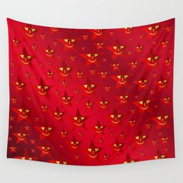 happy, smiling smileys on stars in rich red Wall Tapestry