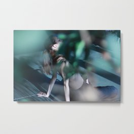 Meditation time, woman is sitting, relaxation Metal Print