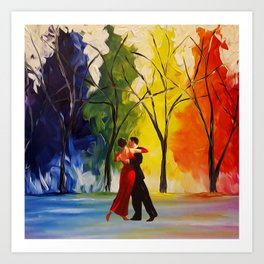 Romantic Couple Dance Art Print