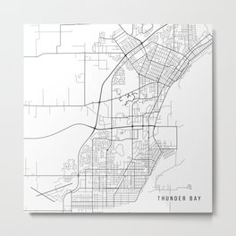 Thunder Bay Map, Canada - Black and White Metal Print