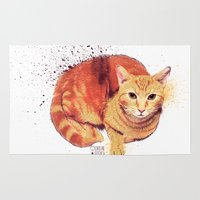 ginger Area & Throw Rugs featuring Ginger Cat by Caroline Fogaça
