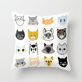 Cats Doodled Throw Pillow