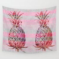 pineapple Wall Tapestries featuring Pineapple by LebensART