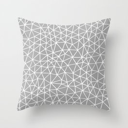 Connectivity - White on Grey Throw Pillow