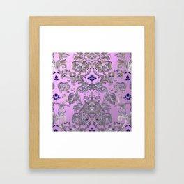 Painted Tibetan Brocade rose pink Framed Art Print
