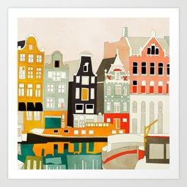 Amsterdam travel city shapes abstract Art Print