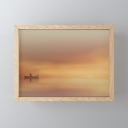 Fishing at Dawn with Lighthouse Framed Mini Art Print