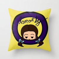 dorothy Throw Pillows featuring Dorothy by Nightmare Productions