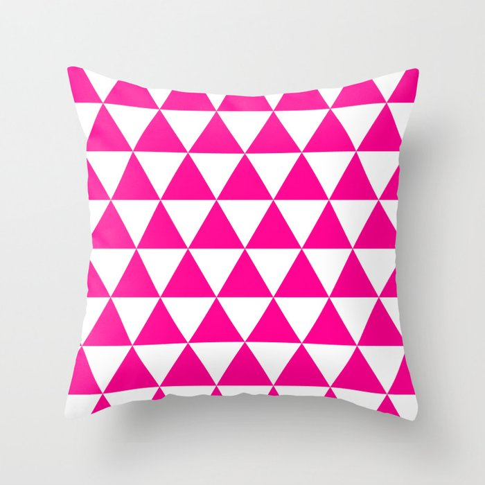 Triangles (Magenta/White) Throw Pillow