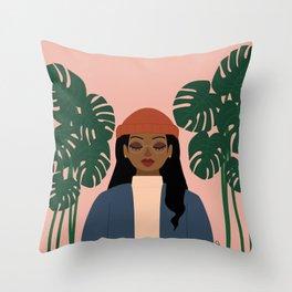 Girl vs. Monstera Throw Pillow