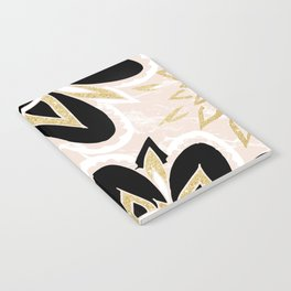 Modern black gold pink abstract floral pattern Notebook