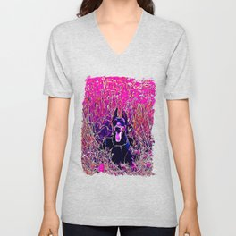 doberman dog red flowers meadow vector art purple Unisex V-Neck