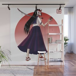 Japanese Demon Masked School Girl Wall Mural