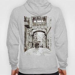 Carrer del Bisbe - Barcelona Black and White Hoody