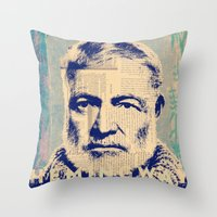 hemingway Throw Pillows featuring Hemingway by Jonathan David Creative