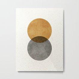 Circle Abstract - Gold Grey Texture Metal Print