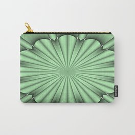 Abstract Flower in Green Carry-All Pouch