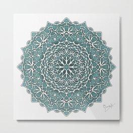 Eight Fold Mandala 6 in Turquoise Metal Print