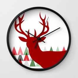 Deer Head Geometric Triangles | white red green Wall Clock