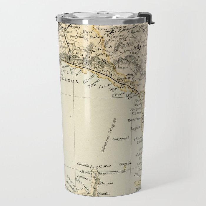 Vintage Retro Map Northern Italy Travel Mug