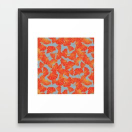 Tumbling Ginkgo Red Framed Art Print