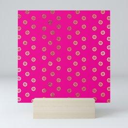 Elegant and Girly Faux Gold Glitter Dots Hot Pink Mini Art Print