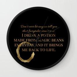 Coffee Potion ~ Black Wall Clock