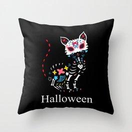Cat Colorful Halloween Throw Pillow