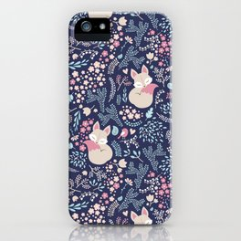 Sleeping Fox - navy iPhone Case