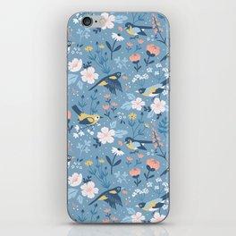 Birds & Blooms (Blue) iPhone Skin