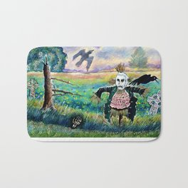 Halloween Field with Funny Scarecrow Skeleton Hand and Crows Bath Mat
