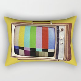 Retro old TV on test screen pattern Rectangular Pillow
