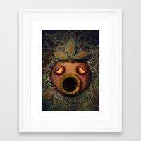 majoras mask Framed Art Prints featuring Deku Mask by Stephano Herrera