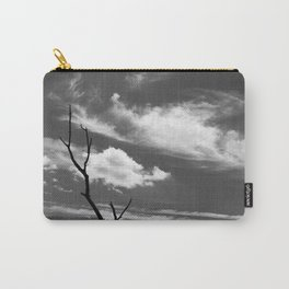 Black and white dead tree and sky with wispy clouds Carry-All Pouch