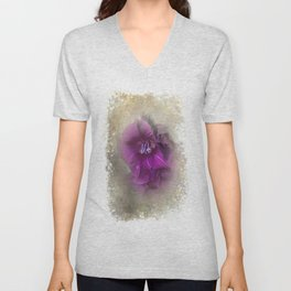 Purple Gladiolas Unisex V-Neck