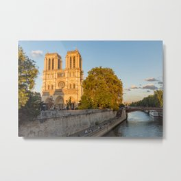 Notre Dame de Paris at Golden Hour Metal Print