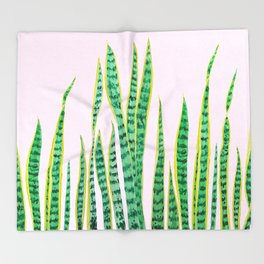 snake plant painting Throw Blanket