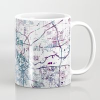houston Mugs featuring Houston map by MapMapMaps.Watercolors