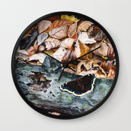 Mourning Cloak Butterfly of the Woods by Teresa Thompson Wall Clock