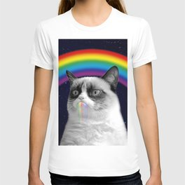 cat all over galaxy rainbow puke Space Crazy Cats T-shirt