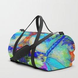 "BLUE ""ZINGER"" DRAGONFLIES  & PURPLE FLOWERS ART Duffle Bag"