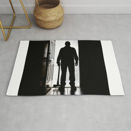 Bad Man at door in silhouette with axe Rug